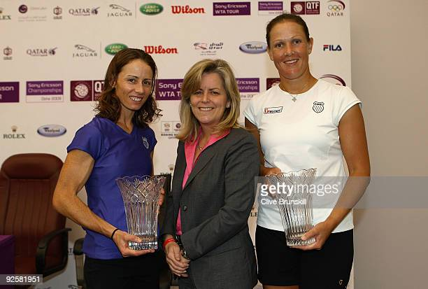 Liezel Huber of the USA and Cara Black of Zimbabwe pose with their trophies with Stacey Allaster, Chairman and CEO of the Sony Ericsson Tour during...