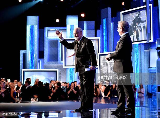 Life Achievement Award recepient John Williams and director Steven Spielberg onstage during American Film Institute's 44th Life Achievement Award...
