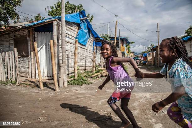 Life at Blue Roof neighborhood: one of the illegal settlements provoked by the Colombian armed conflict on February 16, 2017. In Colombia, the...