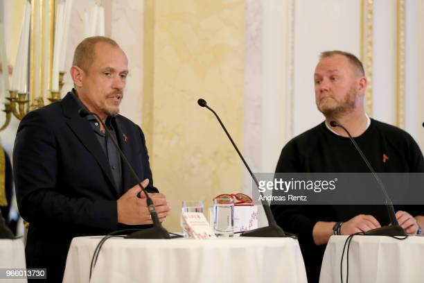 Life Ball organizor Gery Keszler and CEO amfAR Kevin Frost speak at the Life Ball 2018 international press conference at Albertina on June 2 2018 in...