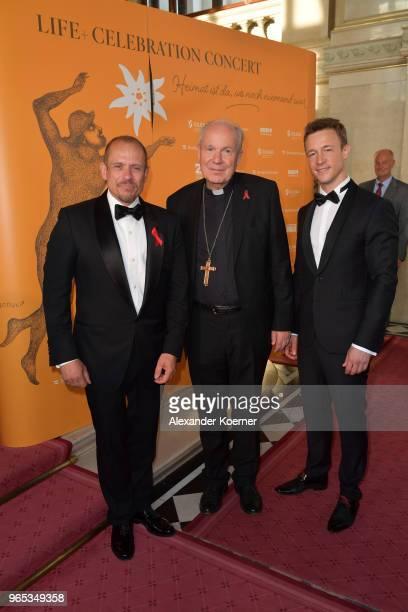 Life Ball organizor Gery Keszler, Christoph Schoenborn and Austrian Minister for EU, Arts, Culture and Media Gernot Bluemel attend the LIFE+...