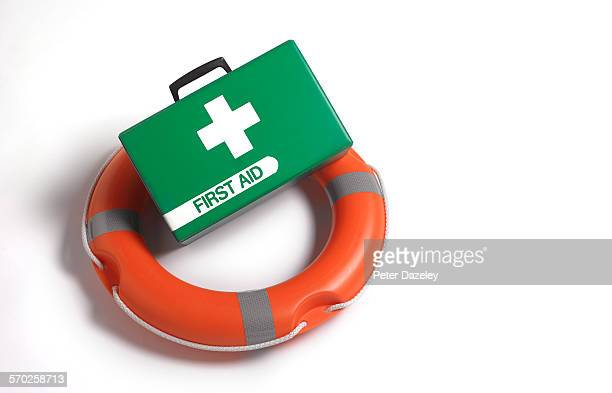 life belt and first aid case - survival stock pictures, royalty-free photos & images