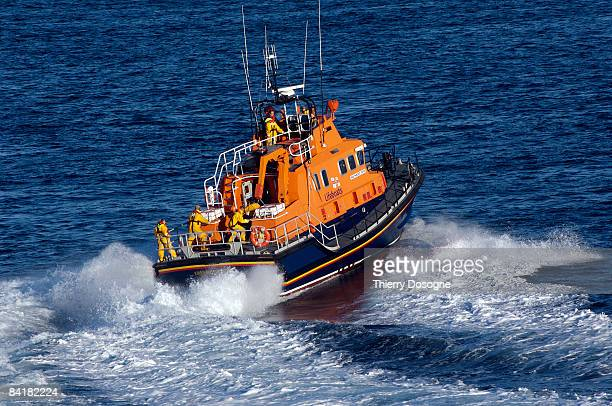 Life boat in training in North Sea
