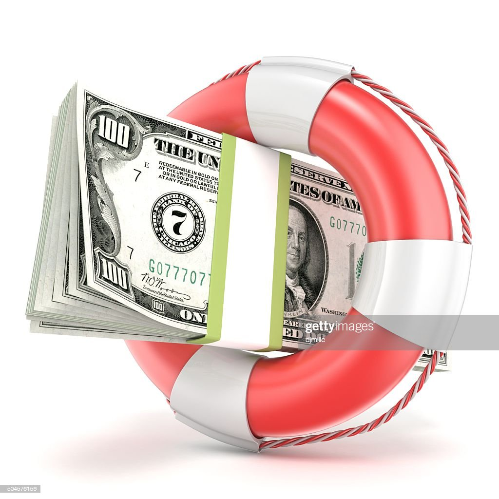 Life buoy with dollars banknote. 3D