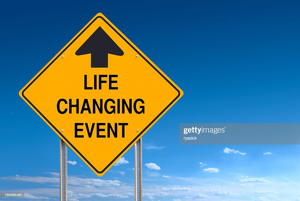 Life Changing Event Ahead Road Traffic Sign Post over Sky : Stock Photo