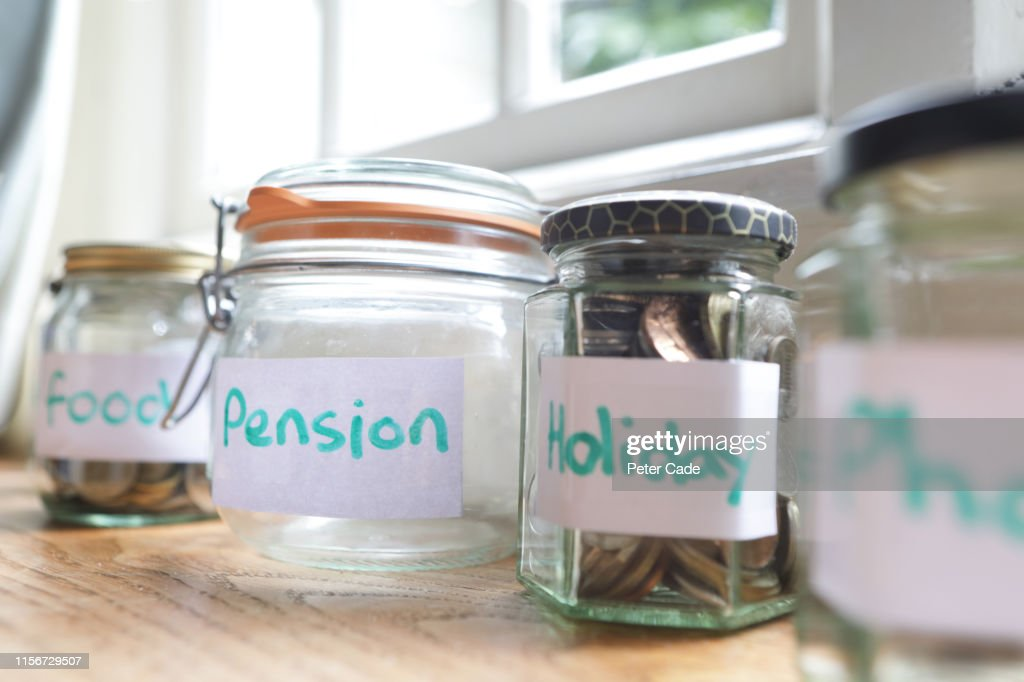 Life event money jars : Stock Photo