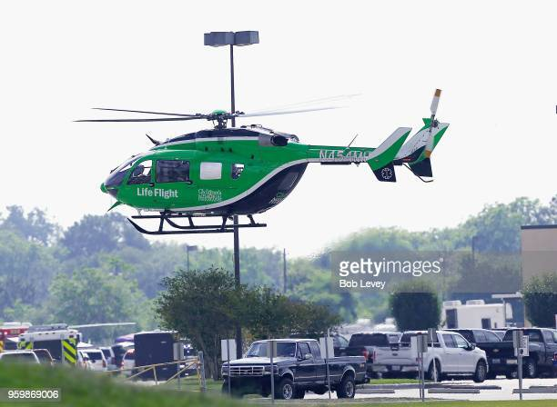 Life Flight helicopter takes off from Santa Fe High School where a shooting took place on May 18 2018 in Santa Fe Texas At least 10 people were...