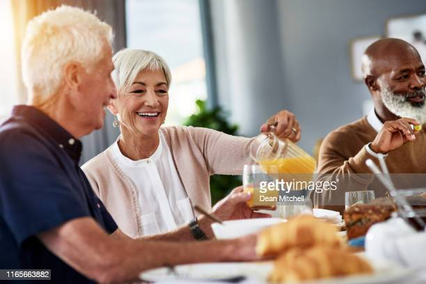 life get's way better after retirement - dining stock pictures, royalty-free photos & images