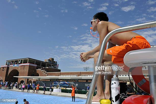 Life guard at the McCarren Park Pool which reopened on June 28 2012 after an extensive rennovation in the Brooklyn borough of New York City