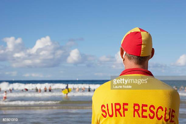 life guard on manly beach, sydney, australia - lifeguard stock pictures, royalty-free photos & images