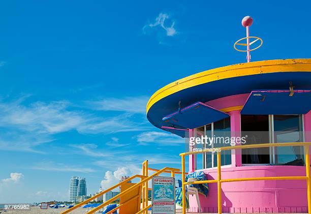 life guard station - miami beach miami stock-fotos und bilder