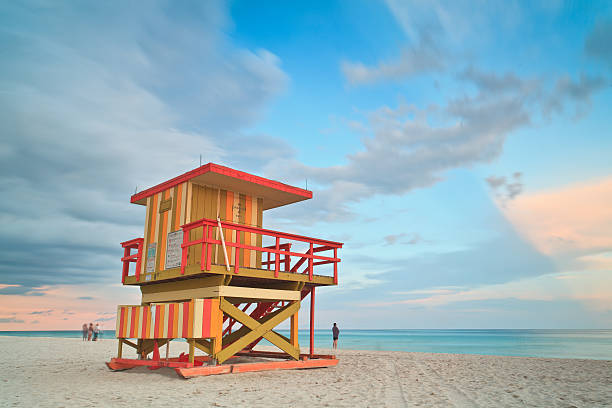 Life guard station with cloudy sky