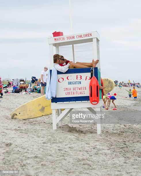 Life guards watch the beach in Ocean City New Jersey in July 2014