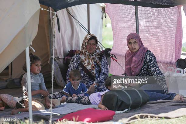 Life in Nea Kavala camp near Polikastro Northern Greece on 11 August 2016 This camp used to be an operational small airport but converted to a...