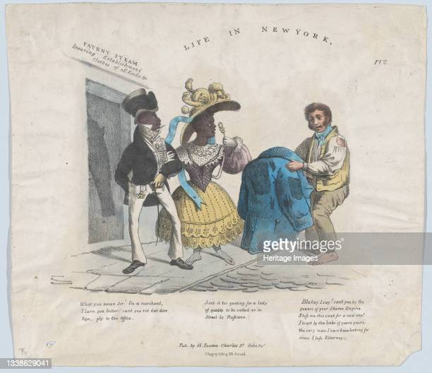 Life in New York, 1824-39. A poor Irish immigrant entreats a couple of well-dressed African-Americans to exchange his old coat for a new one. Artist...