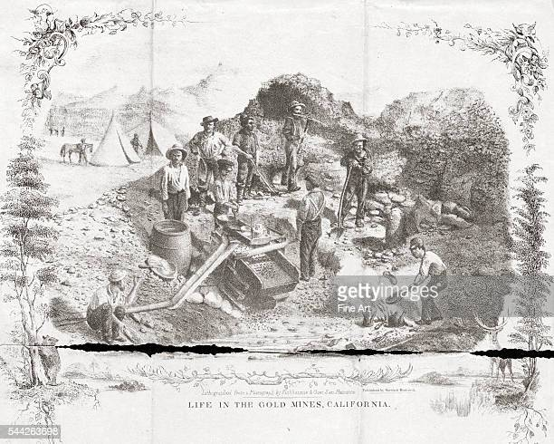 Life in the Gold Mines California lithograph on blue paper from a photograph by Fishbourne Gow San Francisco 1850s 278 x 22 cm