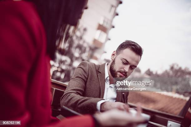 Life Insurance Agent Working with Client on Balcony and Drink Coffee