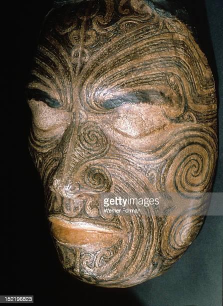 Life mask taken in 1854 for Sir George Grey of Chief Tapua Te Whanoa of the Ngati Whakaue hapu of the Rotorua region showing the full facial moko...