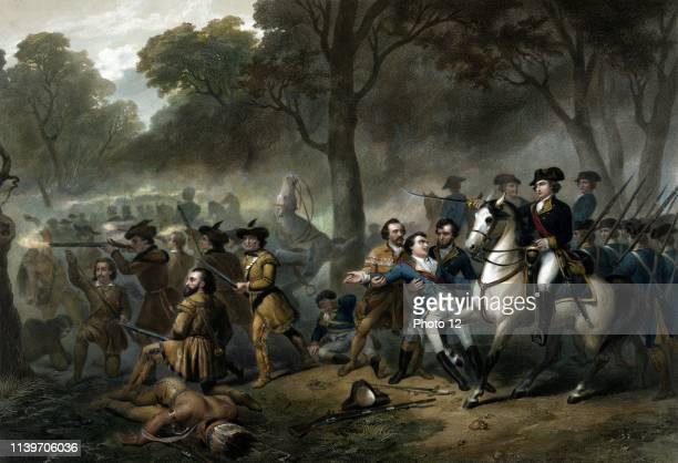 Life of George Washington The Soldier George Washington on horse soldiers fighting during the battle of the Monongahela c1854