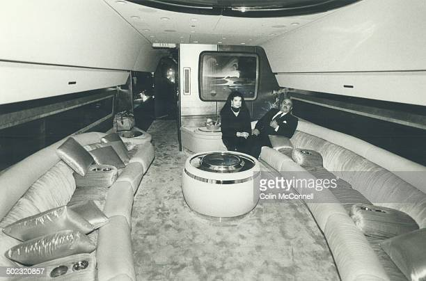 Life of luxury Saudi billionaire Adnan Khashoggi 50 sits with his wife Lamia in one of the luxurious lounges aboard his DC8 In addition to a fleet of...