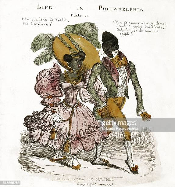 Life of Philadelphia woodcut print Shows an African American couple walking on the street the woman asks the man whether he likes the waltz Dated...
