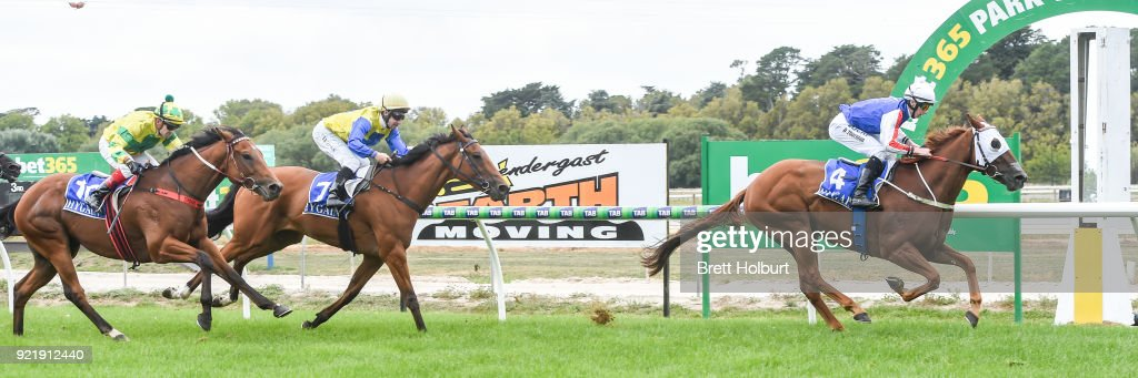Life of Waldo ridden by Damien Thornton wins the bet365 Official Price Guarantee BM58 Handicap at Kyneton Racecourse on February 21, 2018 in Kyneton, Australia.