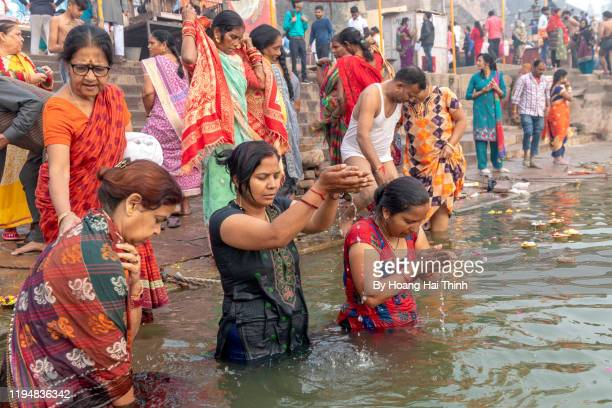 life on ganga river - gangaur stock pictures, royalty-free photos & images