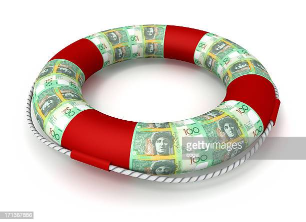 Life preserver covered by Australian Dollars