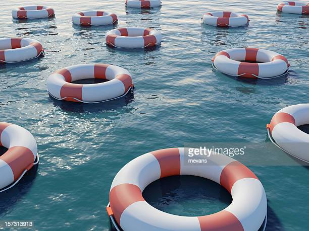 life preservers - buoy stock photos and pictures