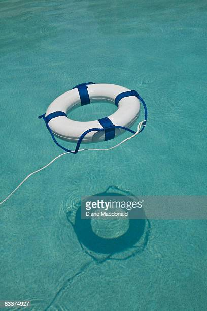 A life ring floating in a swimmimg pool