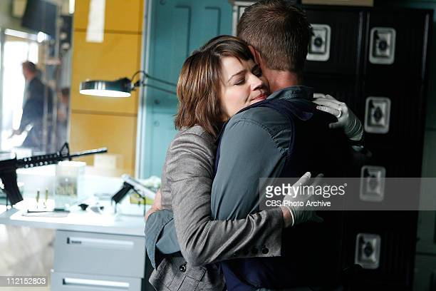 'Life Sentence' Lindsay Monroe Messer left embraces Danny Messer after a hail of gunfire tears through the crime lab on CSI NY scheduled to air...