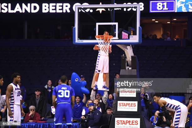 A life size cardboard cut out of DePaul Blue Demons guard Billy Garrett Jr is seen through the backboard in the second half during a game between the...