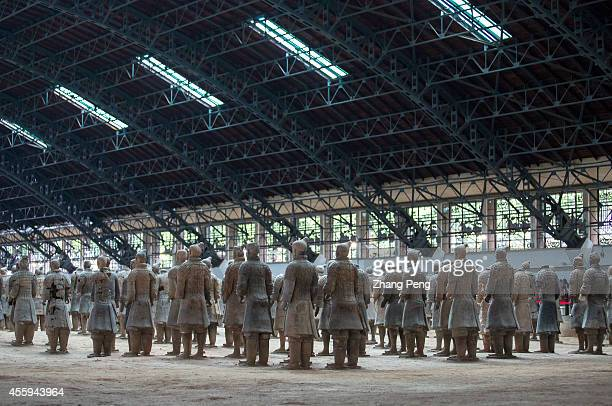 XI'AN SHAANXI CHINA Life size terracotta figures are arranged in battle formations The Terra Cotta Warriors and Horses are the most significant...