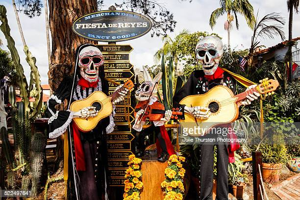 Life Sized Skeleton Day of the Dead Statues Playing Guitars And With Rabbit With Violin in Old Town San Diego, California in Preparation For The...