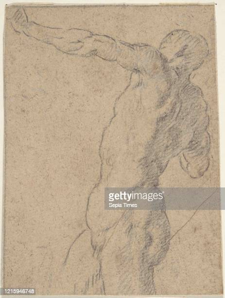 Life Study of Standing Male Nude in Three-Quarter Length, 17th century, Black chalk, small traces of white chalk highlighting on light brown paper....