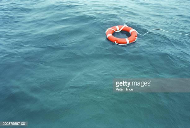 Lifebelt drifting on sea (soft focus)