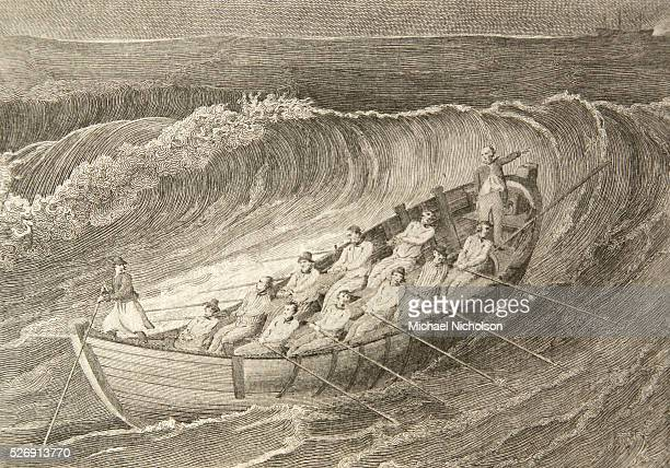 A lifeboat built according to the design of English boatbuilder Henry Greathead Greathead's design won a 1790 competition for best lifeboat design