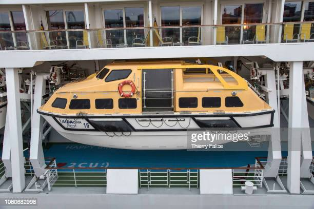 A lifeboat on the the AIDAdiva a cruise ship operated by the German cruise line AIDA Cruises and registered in Genoa Italy with a gross tonnage of...