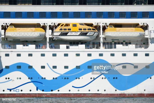 Lifeboats on German Cruise Ship Aida Moored in Sète or Sete