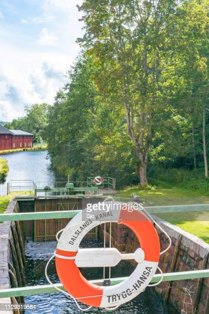 Lifebuoy at the Dalsland Canal locks at Dals Langed in Sweden on a summer day.