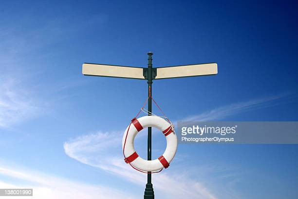 Lifebuoy on blank signs