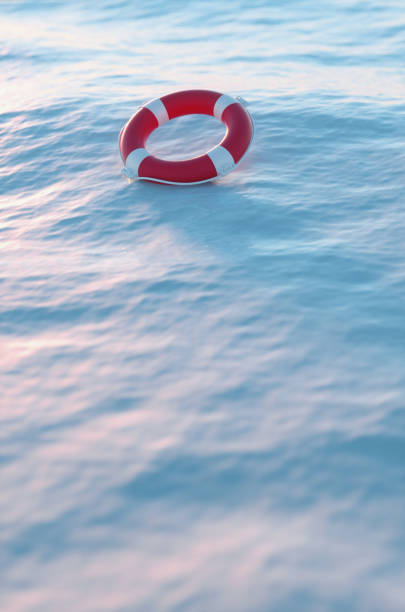 Lifebuoy on the icy edge of the sea in the arctic. 3d render illustration