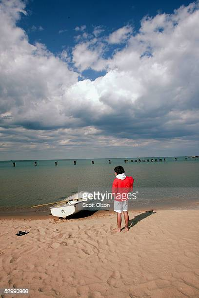 Lifeguard Ben Ingvoldscad watches over the waters of Lake Michigan at North Avenue Beach May 27, 2005 in Chicago, Illinois. Chicago opened its public...