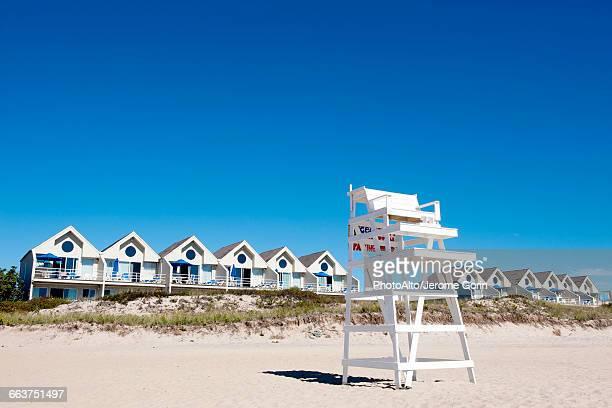 lifeguard chair on beach, montauk, east hampton, new york state, usa - east hampton stock pictures, royalty-free photos & images