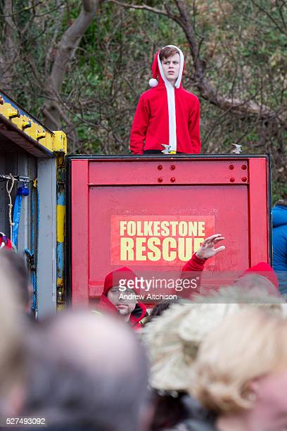 A lifeguard dressed as Santa keep an eye out from a lookout for Folkestone Lions Club Boxing Day Dip An annual fancy dress fundraising event where...