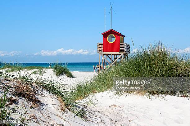Lifeguard hut at white sandy beach of Falsterbo, Sweden