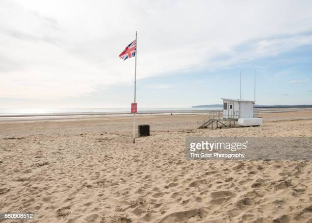 lifeguard hut, camber sands - camber sands stock photos and pictures