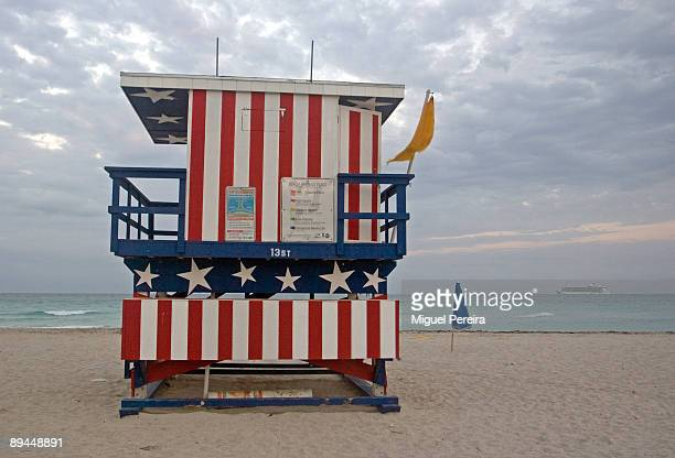 A lifeguard hut in Miami Beach decorated with the colors of the American flag