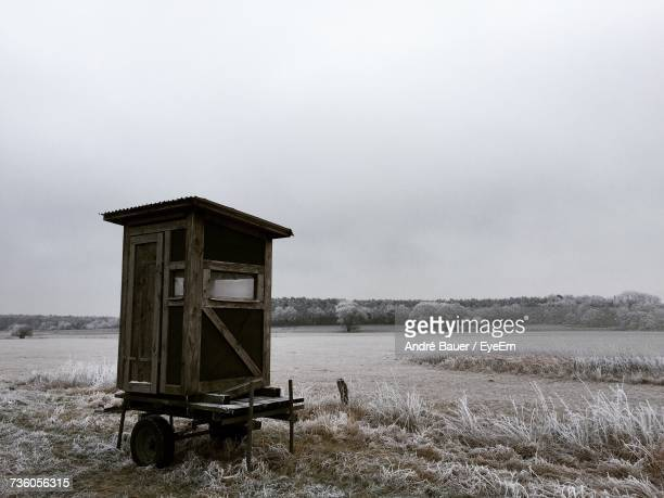 Lifeguard Hut On Agricultural Field Against Sky
