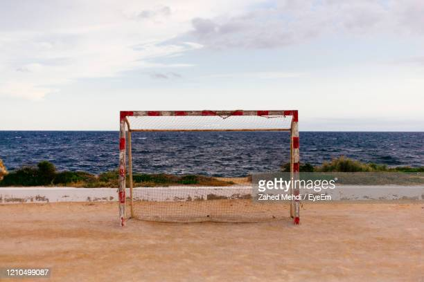lifeguard hut on beach against sky - scoring a goal stock pictures, royalty-free photos & images